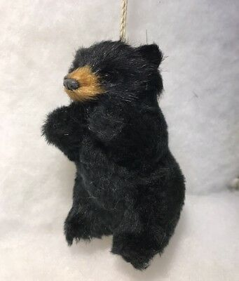 Black Standing Bear Faux Fur Christmas Tree - Black Christmas Tree Ornaments