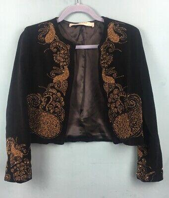 Zara Black Bronze Velvet Beaded / Embellished Paisley Retro 90s Jacket S - B53