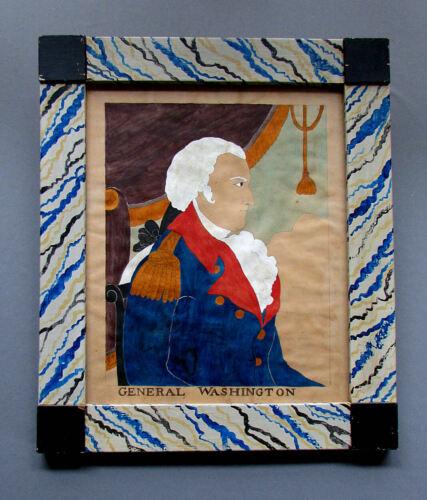 American Folk Art GARRETT B. FRENCH Watercolor Painting GENERAL WASHINGTON