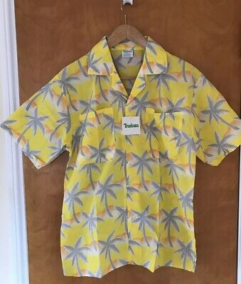 VINTAGE 80's Tropicana Hawaiian Shirt Tiki Aloha in Yellow L NWT