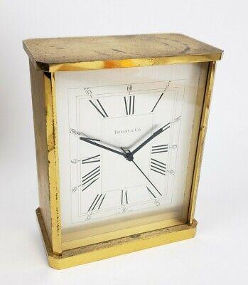 Vintage Large Heavy Brass Tiffany & Co. Mantle/ Desk Clock