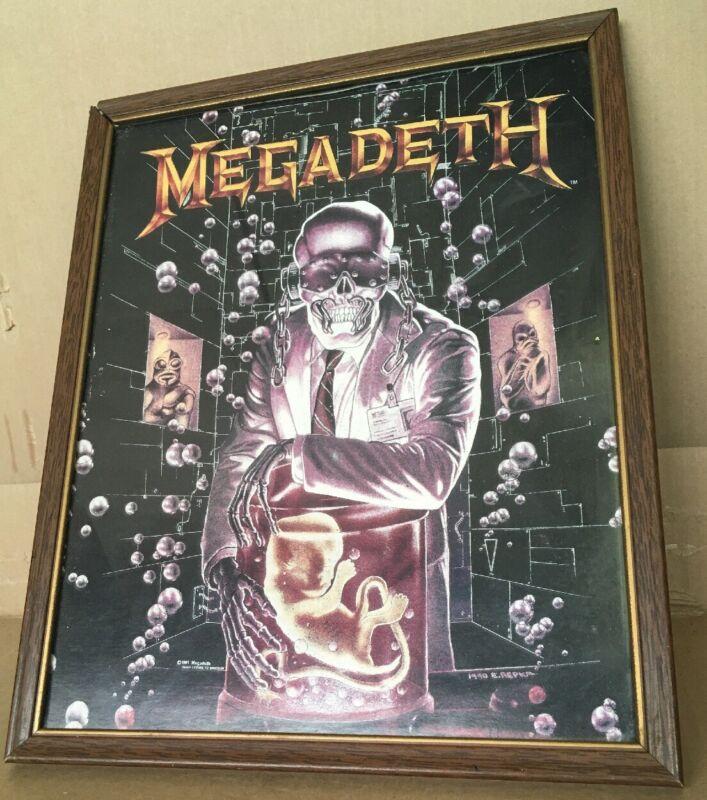 RARE Megadeth Carnival Prize Framed Poster 1991 READ