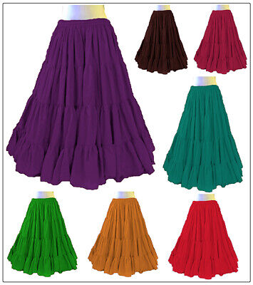 Baumwolle Gypsy Rock 12 Yard 4-Tier-Bauchtanz Tribal Jupe - Tier Tanz Kostüme