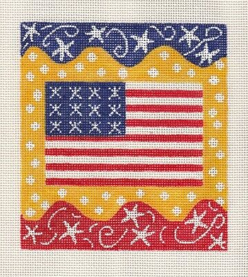 New Hand Painted Needlepoint canvas-  Deco Flag