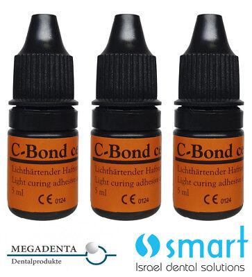 Lot X 3 Dental Bonding C-bond Light Curing Adhesive Megadenta Germany 5 Ml
