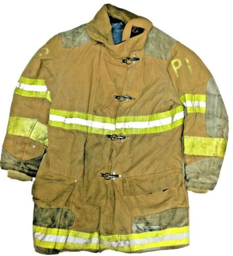 50x35 Globe Firefighter Brown Turnout Jacket Coat with Yellow Tape J893