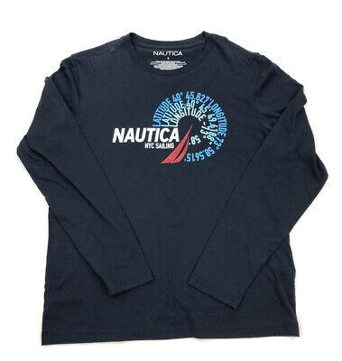 Nautica Mens Crew Neck Long Sleeve Tee Size Small Blue  Graphic Logo New