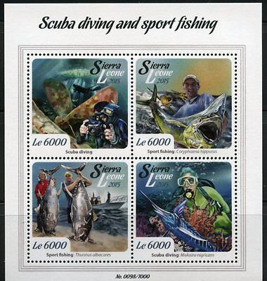 SIERRA LEONE 2015 SCUBA DIVING AND SPORT FISHING  SHEET     MINT NH