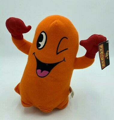 """Namco Toy Factory PAC-MAN Plush 10"""" Orange Ghost Pokey Clyde Winking Tag NWT"""