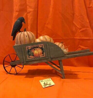Bethany Lowe Halloween Raven Farms Pumpkins Haunted Wheel Barrow—Retired