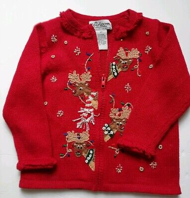 Heirloom Collectibles Girls' Red Reindeer Christmas Cardigan Zipper Sweater  3T Christmas Sweaters Toddlers