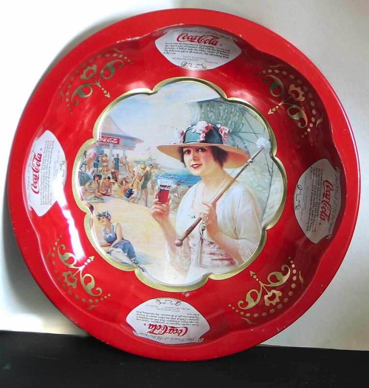 Coca Cola Tin Serving Bowl Tray 1993 Replica Vintage Adver Lady Beach FREE SH