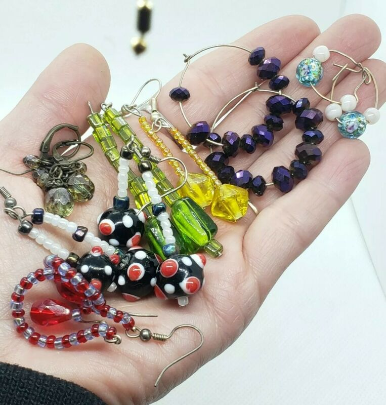 Vintage Assorted Czech Murano Glass Dangle Earring Lot Faceted Leverbacks 7 Pair