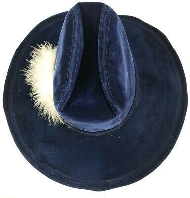 Artel Feather Cowboy Hat Velvet Blue Size M - Velvet Pirate Hat