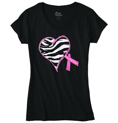 Zebra Heart Ribbon Breast Cancer Awareness Womens Clothes Gift Junior V-Neck Tee