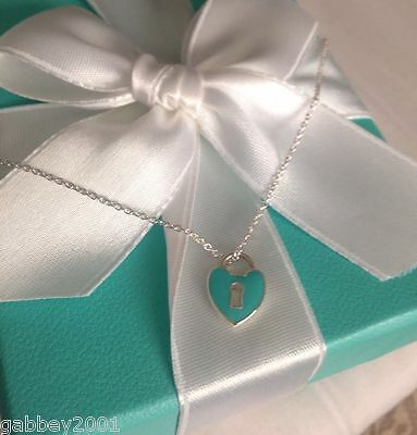 "Tiffany & Co. RARE Silver Blue Enamel Small Heart Keyhole Pendant 17"" Necklace"