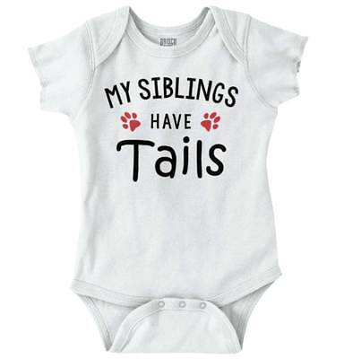 Sibling Tail Funny Animal Cute Shirt | Baby Gift Idea Dog Cat Romper Bodysuit