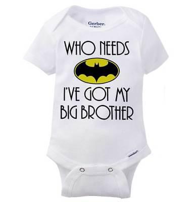 Who Needs Hero Big Brother Comic Book Gift Infant Gerber Onesie Baby Bodysuit ()