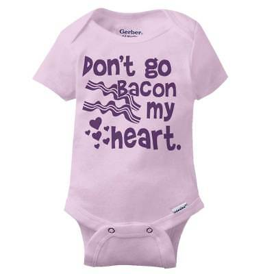(Dont Go Bacon My Heart Gerber Onesie | Funny Cute Breakfast Food Baby Romper)