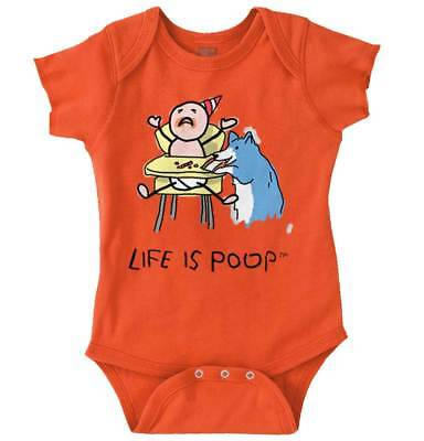 Life is Poop Baby Dog Food Funny Cool Cool Sarcastic Gift Gym Romper Bodysuit (Baby Dog Food)