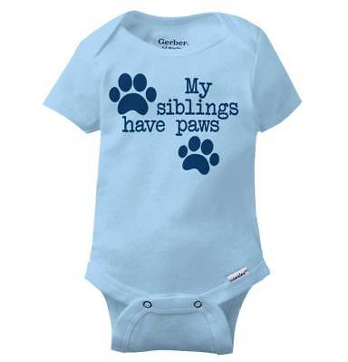 Siblings Have Paws Dog Lover Pets Dog Owner Shower Gift Baby Gerber Onesie - Dog Onesy
