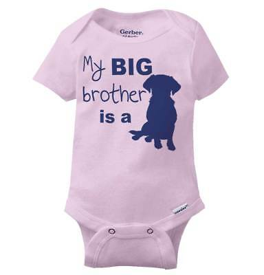Big Brother Is A Dog Cute Puppy Lover Shower Birthday Gift Baby Gerber Onesie ()