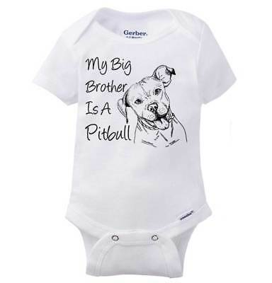 Big Brother Is A Pitbull Funny Dog Lover Shower Gift Idea Baby Gerber Onesie - Dog Onesy