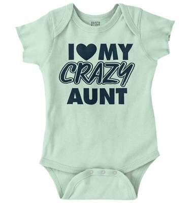 (Love Crazy Aunt Funny Shirt Cool Gift Idea Baby Clothes Cute Romper Bodysuit)