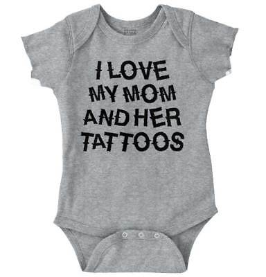 Love Mom And Her Tattoos Inked Mothers Day Newborn Romper Bodysuit For Babies