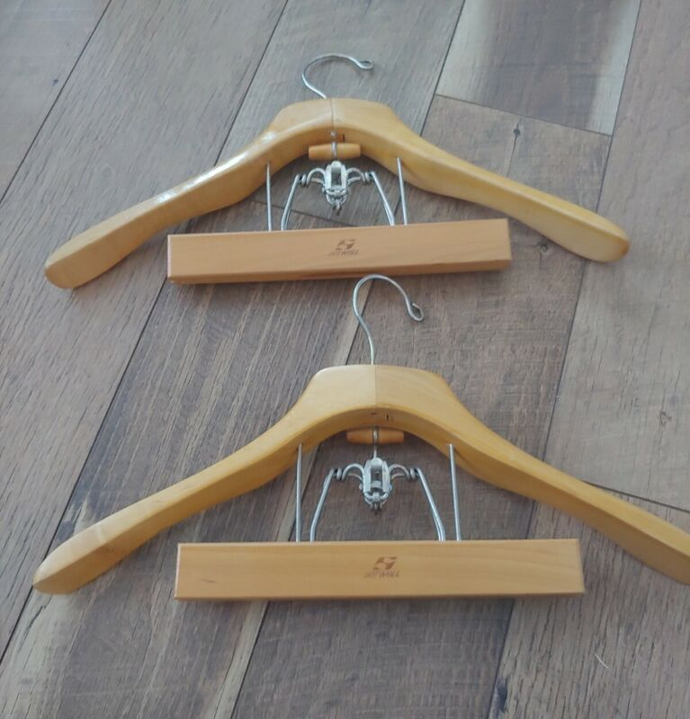 Vintage Wooden Suit Hangers Clamp USA Setwell LOT OF 2
