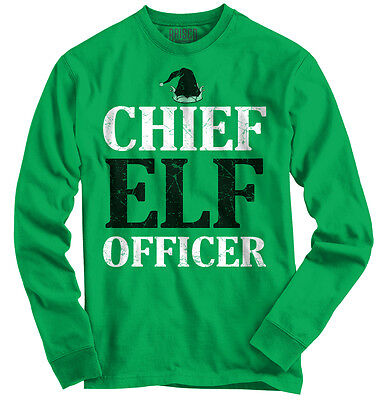 Chief Elf Officer Christmas Funny Shirts Ugly Gift Ideas Cool Long Sleeve Tee ()