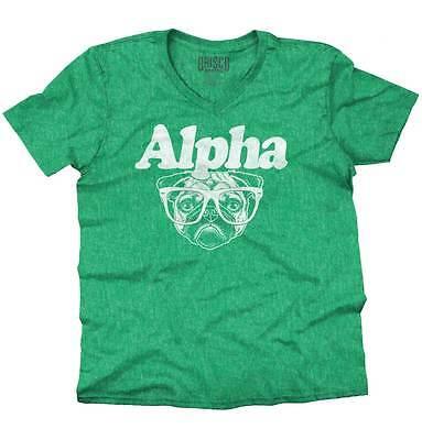 Alpha V-neck T-shirt (Alpha Dog Pug Funny Shirt Cute Puppy Nerd Gift Idea Geek Cool V-Neck T)