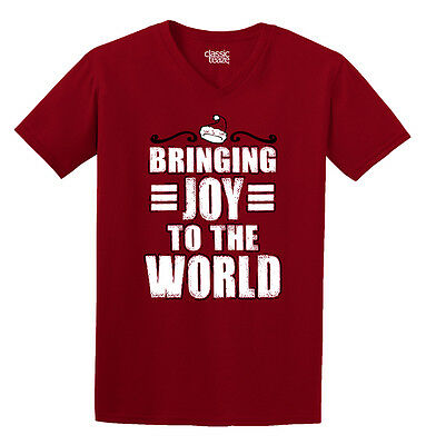 Bringing Joy To World Christmas Funny Shirt | Cool Gift Idea V-Neck T Shirt ()