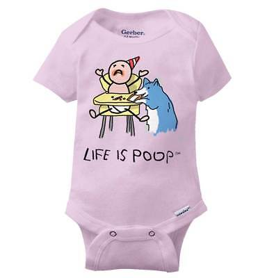 Life is Poop Baby Dog Food Funny Cool Cool Sarcastic Gift Gym Baby Gerber Onesie (Baby Dog Food)