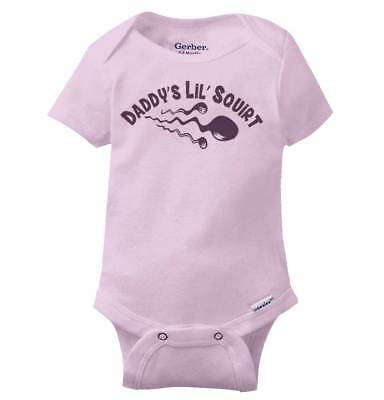 Daddys Lil Squirt Funny Gerber Onesie   Cute Offensive Rude Gift Baby Romper](Cute Squirt)