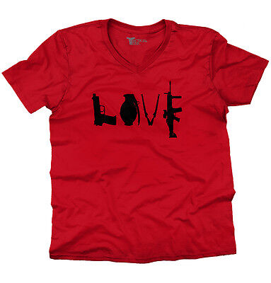 Love Pistol Grenade USA Shirt 2nd Amendment Gun America Cool V-Neck T Shirt