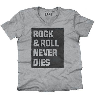 Rock And Roll Never Dies Music Classic Rock V-Neck Tees Shirts Tshirt T-Shirt - Roll Neck Shirts