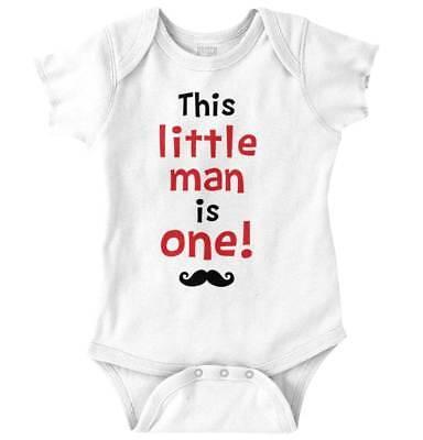 Little Man Is One Year Old First Birthday Son Nephew Gift Boys Romper Bodysuit](Little Man First Birthday)