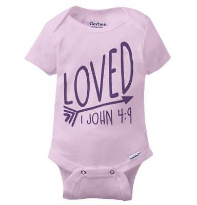 Cute Bible Verses (Loved John 4:9 Bible Verse Gerber Onesie | Cute Christian Religious Baby)