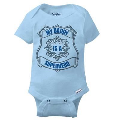 My Daddy Is A Superhero Gerber Onesie | Cop Police Officer Hero Baby - Onesie Superhero
