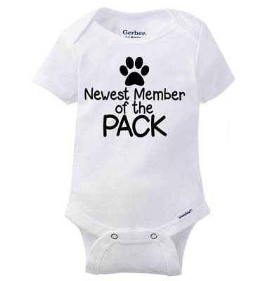 Newest Member Of The Pack Gerber Onesie Pets Dog Puppy Announcement Baby Romper - Dog Onesy