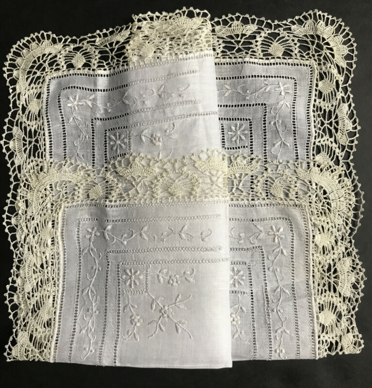 Stunning Vintage Linen Embroidered Flower Tatted Crocheted  Hanky Handkerchief