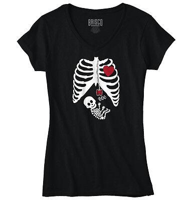 Pregnant Skeleton Shirt (Pregnant Women Baby Halloween Shirt | Cute Gift Skeleton Cool Junior Fit V-Neck)