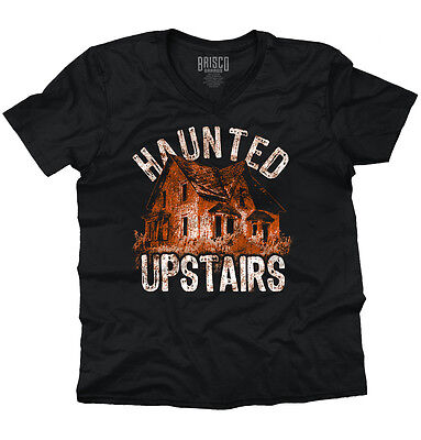Haunted Upstairs Halloween Gift Ghost Spooky Trick Treat Cool V-Neck T Shirt