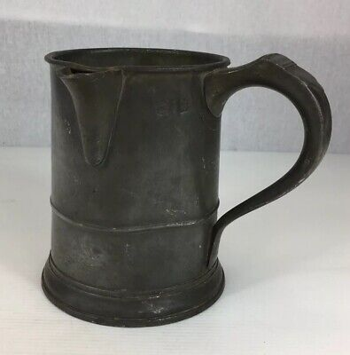 Antique Pewter Measure Tankard Approximately Quart Size 15cm In Height
