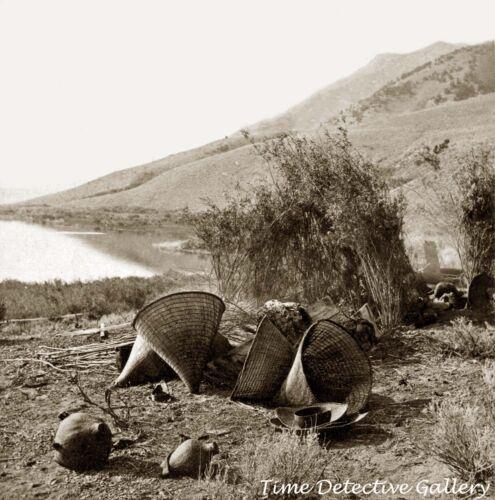 Mono Indian Baskets on Shore of Mono Lake, California 1865 -Historic Photo Print