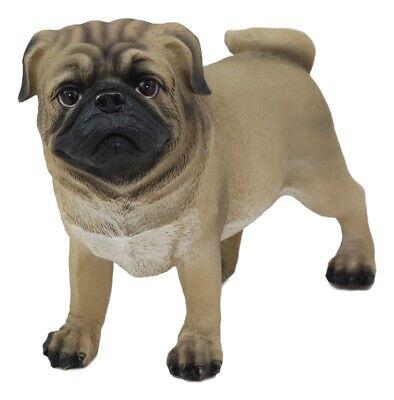 Adorable Fawn Pug Dog Statue 7.75