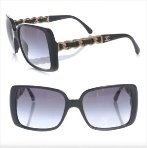 Chanel 5208-Q Black Leather / Gold Chain / Grey Gradient Sunglasses Authentic