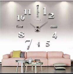 3D Wall Clock Modern DIY Large Number Mirror Sticker Big Watch Home Art Decor