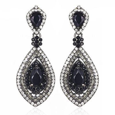 Drop Austrian Rhinestone Crystal CZ Chandelier Dangle Earrings Wed E3510 Black